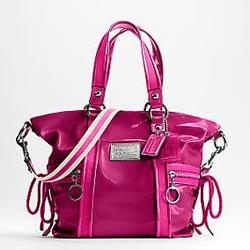 蔻驰POPPY系列桃红色漆皮两用包
