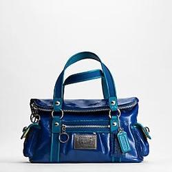 蔻驰POPPY系列宝蓝色漆皮手提包