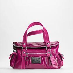 蔻驰POPPY系列玫红色漆皮手提包