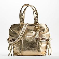 蔻驰POPPY系列金色水洗做旧两用包