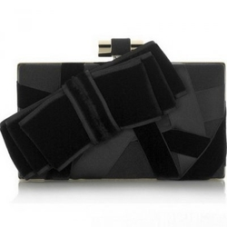 YSL圣罗兰09春夏系列黑色缎带手包