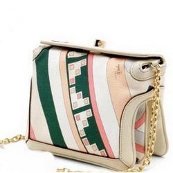 璞琪09春夏系列印花帆布链条手提包