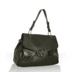 Ferragamo深绿色皮革品牌标识带扣肩包