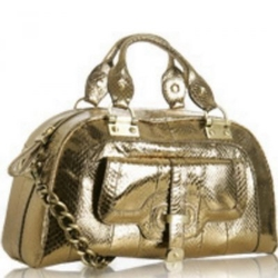 "Kale Handbags青铜色蛇皮""克莉丝汀""中号手袋"