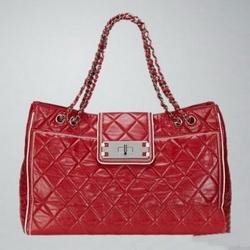 香奈儿红色小羊皮菱格纹购物包
