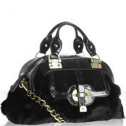 "Kale Handbags黑色兔皮""克莉丝汀""中号手提包"