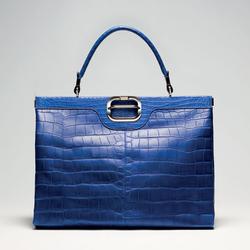 罗杰・维威耶2011春夏鳄鱼皮系列蓝色拎包