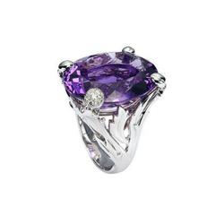 Dior18K白金镶多粒钻石及单颗紫水晶
