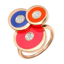 Rosato,洛萨朵全新正品意大利产 珐琅0.10克拉总重100%纯天然钻石戒指