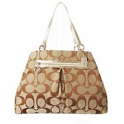 蔻驰棕色经典LOGO帆布时尚女士手提包 D1176-F14863