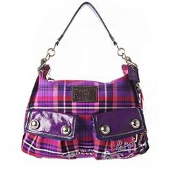 蔻驰poppy系列魔幻紫色甜美格纹女士手提袋 F1026-16120