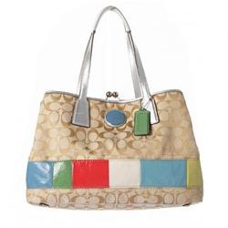 蔻驰浅棕色银边糖果色拼接时尚女士挎包 A1176-F17444