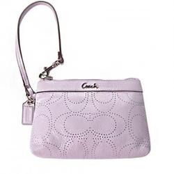 蔻驰粉紫色经典logo图案女士优雅手包 F45606