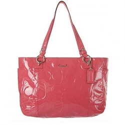 蔻驰珊瑚红色甜美经典双C压花图案手提包 D1149-F17729