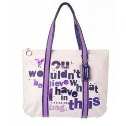 蔻驰紫色亮片刺绣帆布女士手提包14980