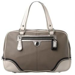 蔻驰灰色包身白色细节点缀双包身凸显个性手提包