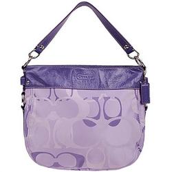 蔻驰紫色配皮经典LOGO纽约斜挎两用包
