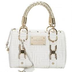 VERSACE白色经典回型纹牛皮优雅女士小型波士顿包