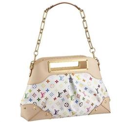 Louis Vuitton白色JUDY GM镶铆钉五彩印花时尚肩包