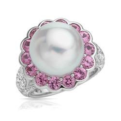 AUTORE正品  18K白金5.89克拉总重100%纯正珍珠戒指