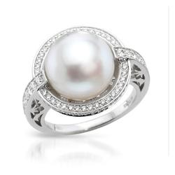 AUTORE正品  18K白金0.63克拉总重100%纯正珍珠戒指