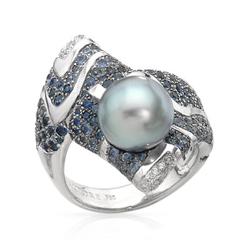 AUTORE正品  18K白金2.49克拉总重100%纯正珍珠戒指