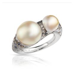 AUTORE正品  18K白金0.84克拉总重100%纯正珍珠戒指