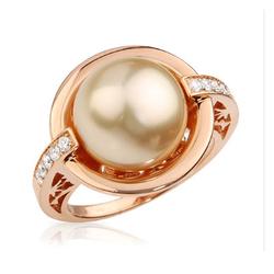 AUTORE正品  18K玫瑰金0.18克拉总重100%纯正珍珠戒指