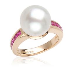 AUTORE正品  18K玫瑰金1.21克拉总重100%纯正珍珠戒指