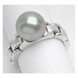 AUTORE正品  18K白金100%纯正珍珠戒指