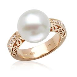 AUTORE正品  18K玫瑰金0.26克拉总重100%纯正珍珠戒指