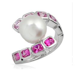 AUTORE正品  18K白金2.25克拉总重100%纯正珍珠戒指