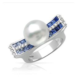 AUTORE正品  18K白金1.04克拉总重100%纯正珍珠戒指
