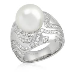 AUTORE正品  18K白金2.17克拉总重100%纯正珍珠戒指