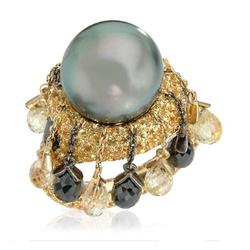 AUTORE正品  18K黄金14.78克拉总重100%纯正珍珠戒指