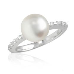 AUTORE正品  18K白金0.24克拉总重100%纯正珍珠戒指