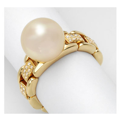 AUTORE正品  18K黄金0.14克拉总重100%纯正珍珠戒指