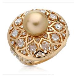 AUTORE正品  18K黄金2.44克拉总重100%纯正珍珠戒指
