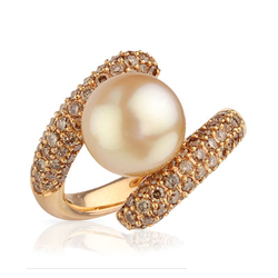 AUTORE正品  18K玫瑰金1.86克拉总重100%纯正珍珠戒指