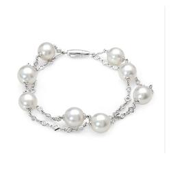 AUTORE正品  18K白金0.70克拉总重100%纯正珍珠手链