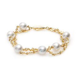 AUTORE正品  18K黄金2.01克拉总重100%纯正珍珠手链
