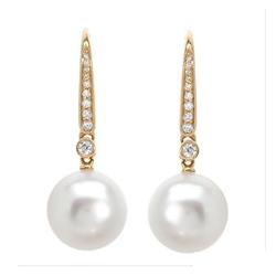AUTORE正品  18K黄金0.21克拉总重100%纯正珍珠耳环