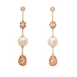 AUTORE正品  18K玫瑰金0.76克拉总重100%纯正珍珠耳环
