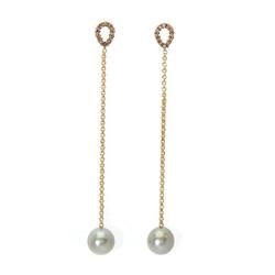 AUTORE正品  18K黄金0.13克拉总重100%纯正珍珠丝机耳环