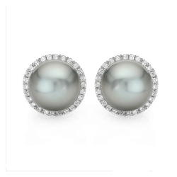AUTORE正品  18K白金0.40克拉总重100%纯正珍珠耳环