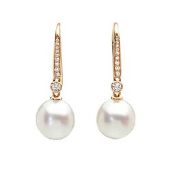 AUTORE正品  18K玫瑰金0.21克拉总重100%纯正珍珠耳环