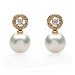 AUTORE正品  18K彩金0.39克拉总重100%纯天然钻石耳环
