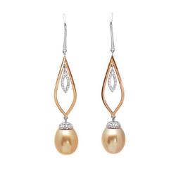 AUTORE正品  18K彩金0.32克拉总重100%纯正珍珠耳环