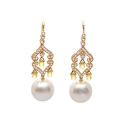 AUTORE正品  18K黄金2.97克拉总重100%纯正珍珠耳环