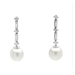 AUTORE正品  18K白金0.51克拉总重100%纯正珍珠耳环